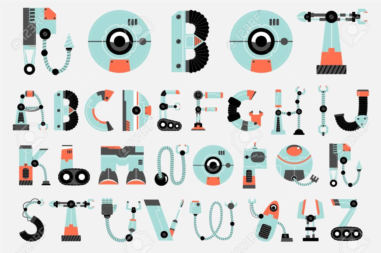 Robot Font Robotics Alphabet Set Royalty Free Cliparts Vectors
