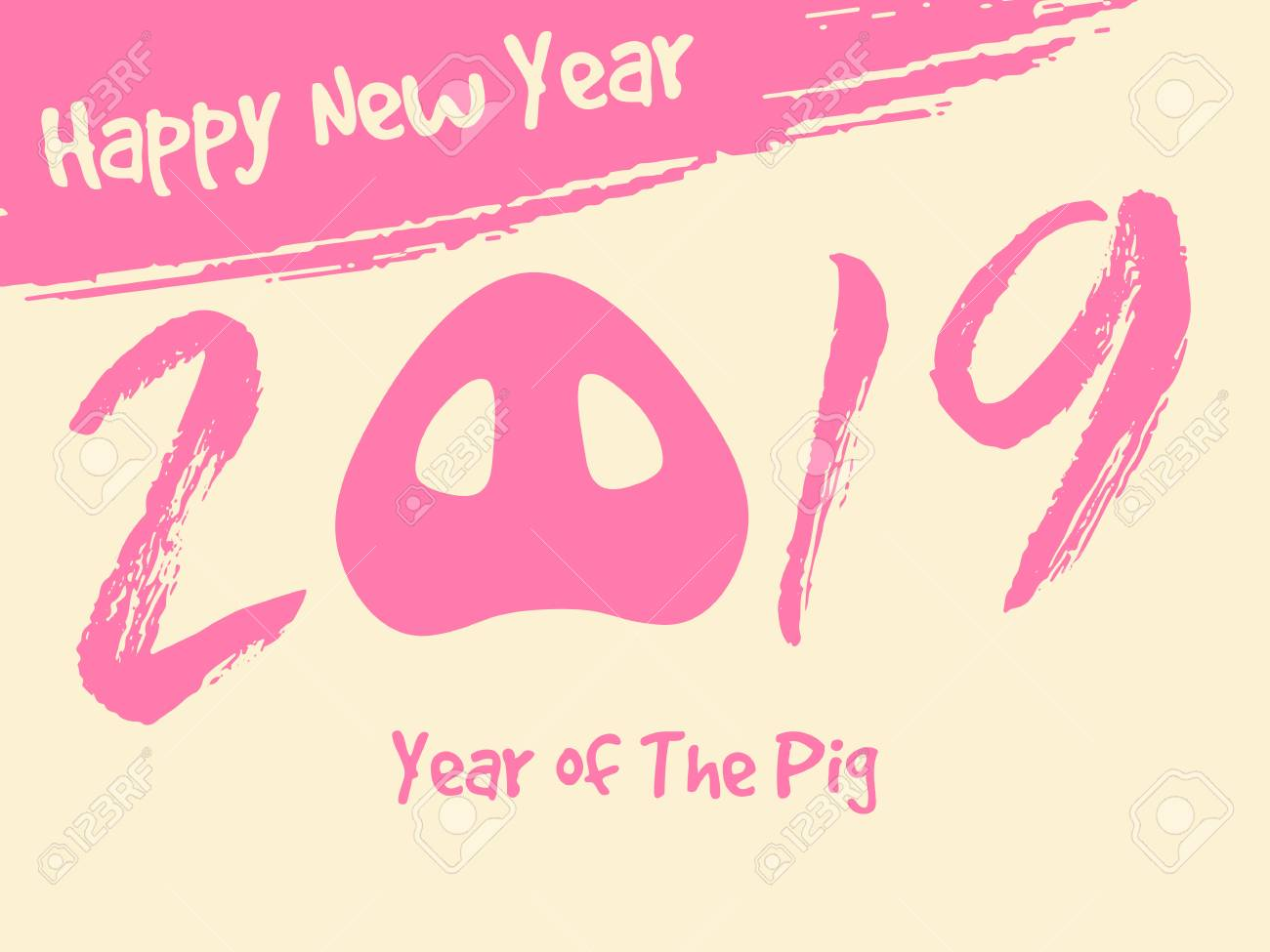 happy new year greeting card template chinese new year 2019 year of the pig