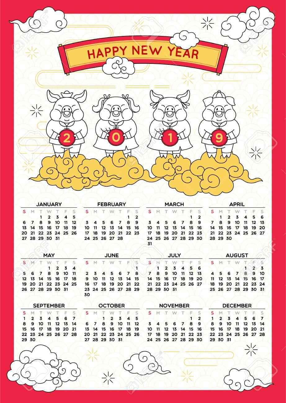 Lunar New Year 2019 Calendar Happy Chinese New Year 2019 Calendar,year Of The Pig,holiday