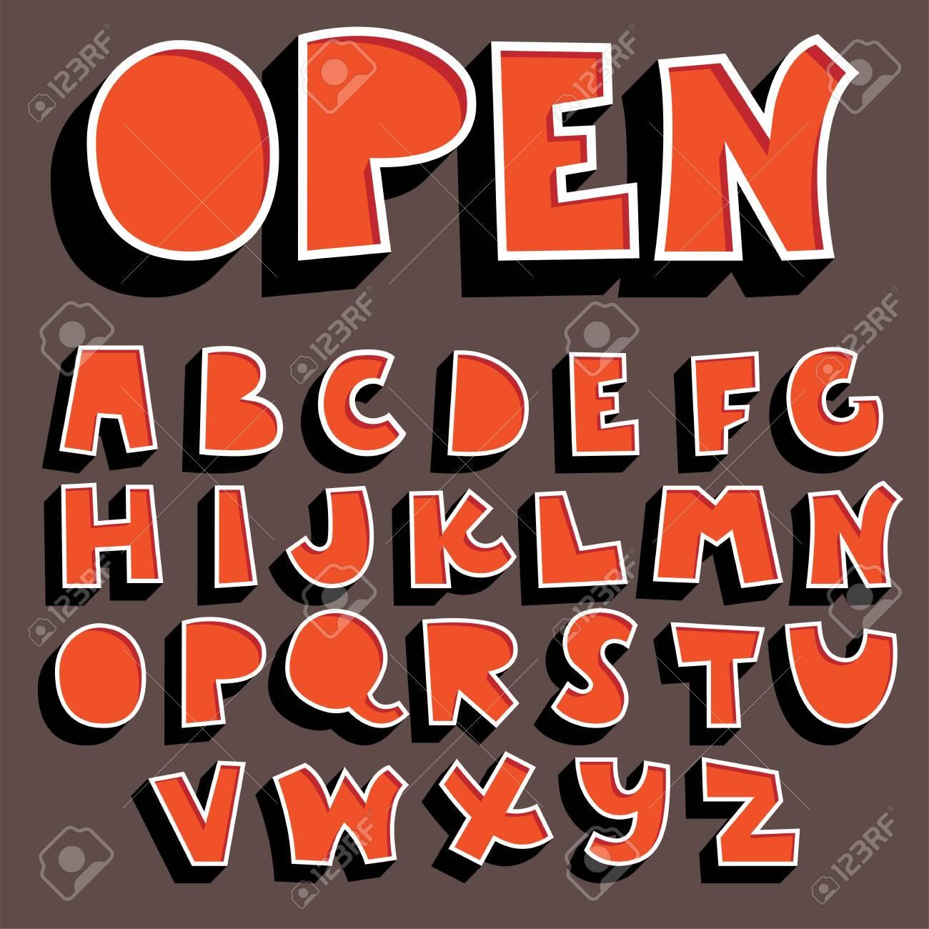 orange 3d alphabet set,vector font with shadow - 138927730