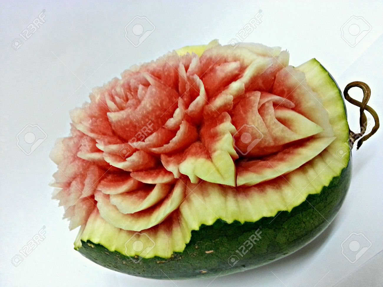 Watermelon fruit carving on white back ground stock photo picture