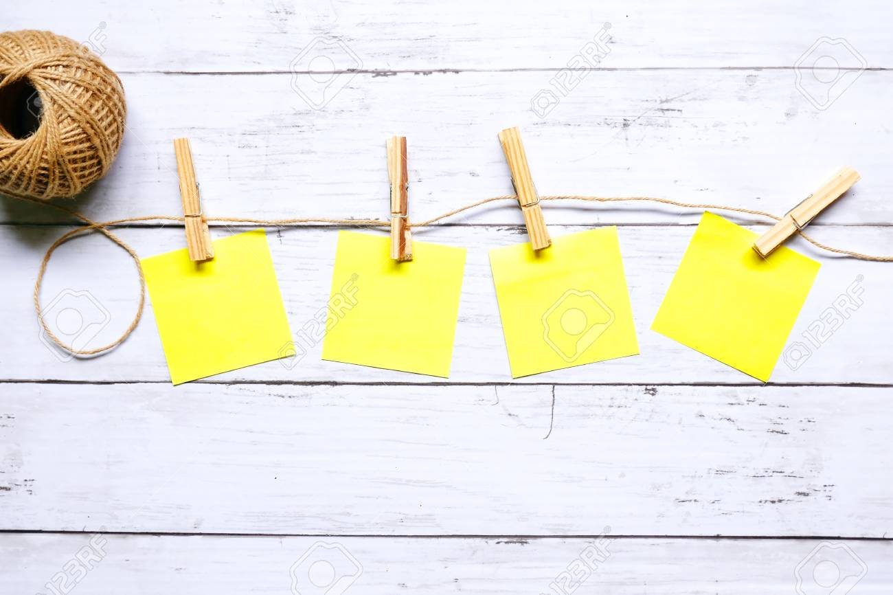 4f36d6f2bfe Miscellaneous Theme. Top View Of Four Empty Yellow Sticky Notes ...