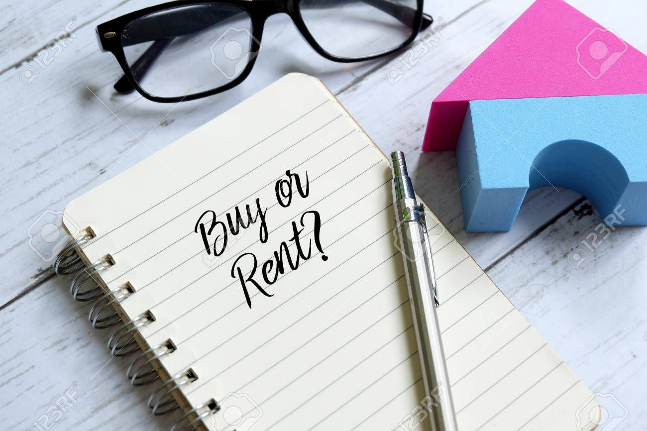 Sunglasses,home model,pen and notebook written 'BUY OR RENT?' on white wooden background. - 94887888
