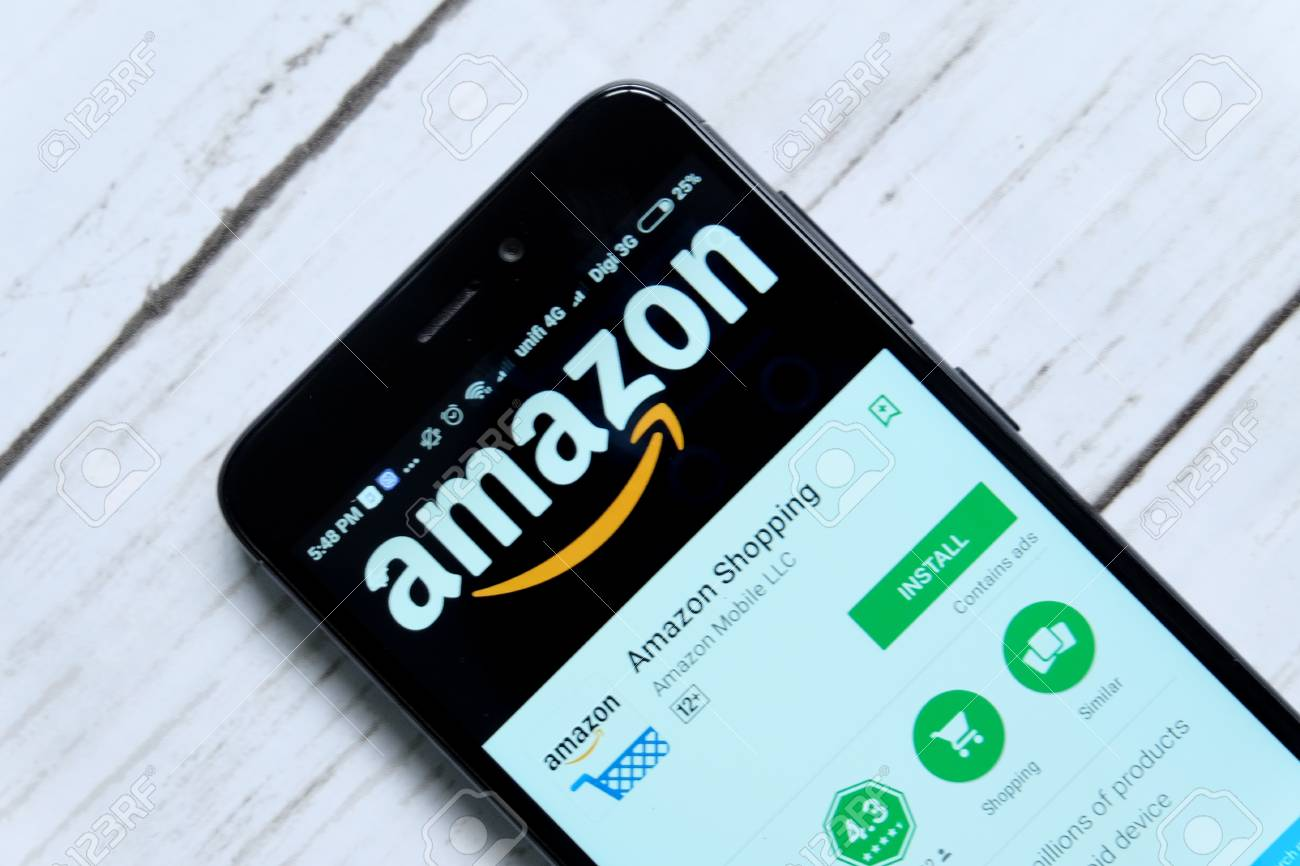 KUALA LUMPUR,MALAYSIA - JANUARY 28TH,2018: Amazon app display on android Play Store.Amazon was founded by Jeff Bezos on July 5, 1994. - 97262143