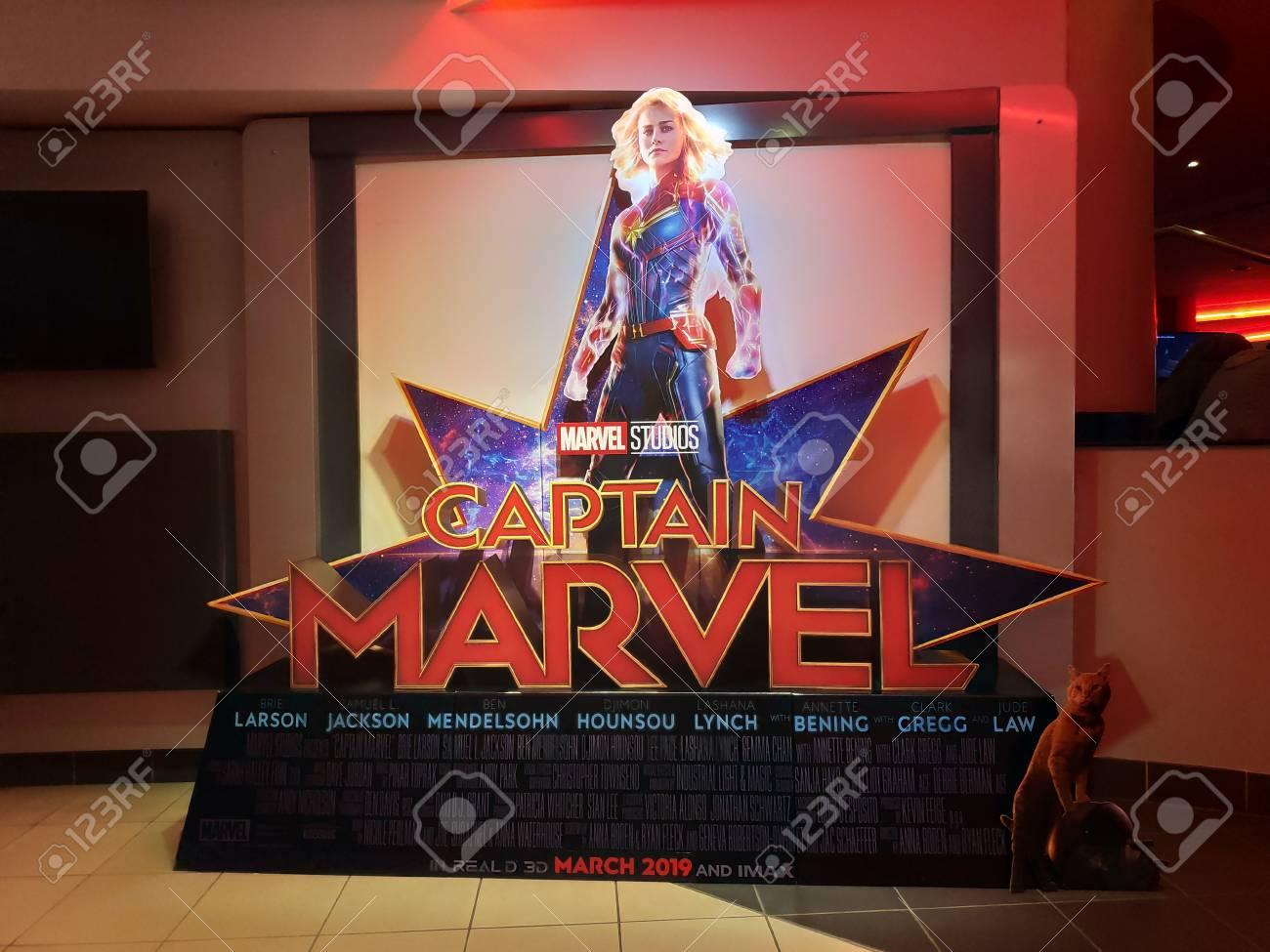 BANDAR SERI BEGAWAN,BRUNEI - CIRCA MARCH,2019 : A Standee of The Marvel Hero Movie Captain Marvel display at cinema. - 118176536