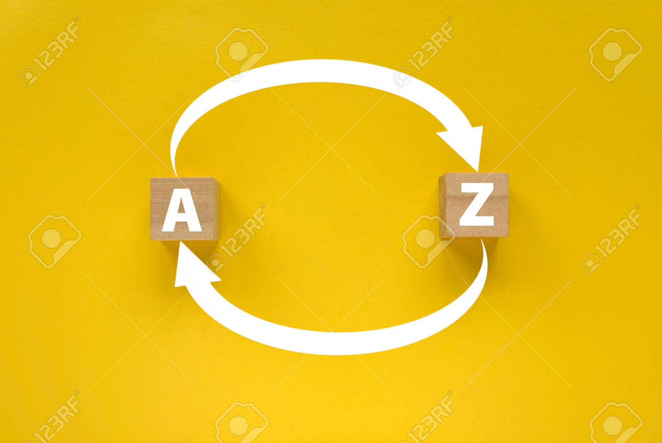 Arrow of an alphabet A to Z and Z to A on yellow background. - 169597267