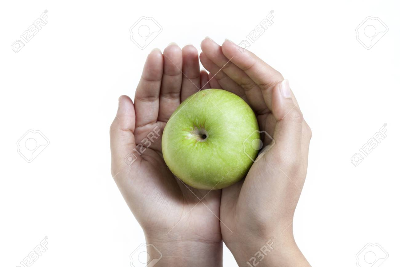 Go green Apple close up with hands Stock Photo - 16465488