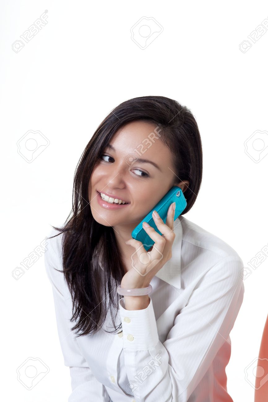 young beautiful women talking at on the phone with a smile Stock Photo - 16848485