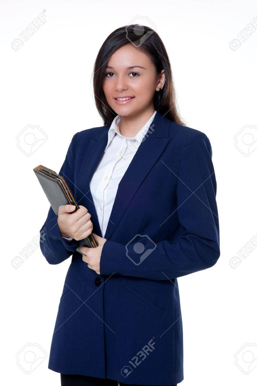 Young Saleswomen holding a note book on the white background Stock Photo - 16983782