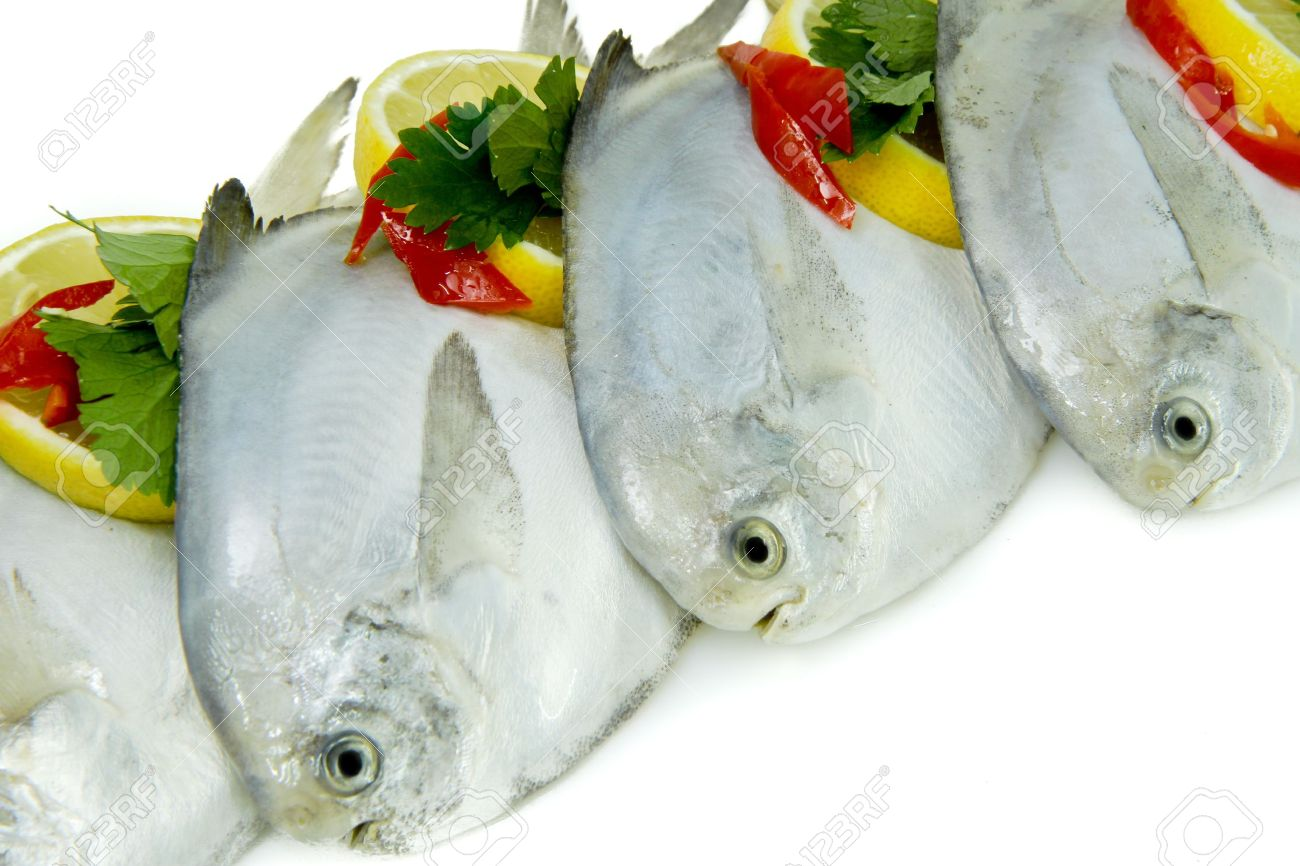 Close-Up of Fresh White Pomfret with Lemon and Chillies - 8923676