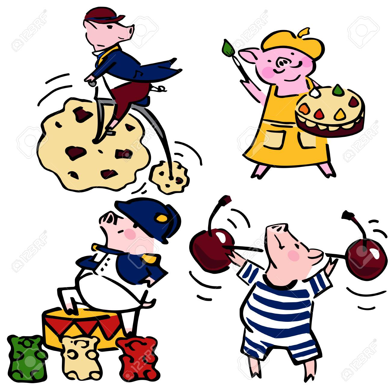 cute vector funny set costumed funny pigs  creative set piglets