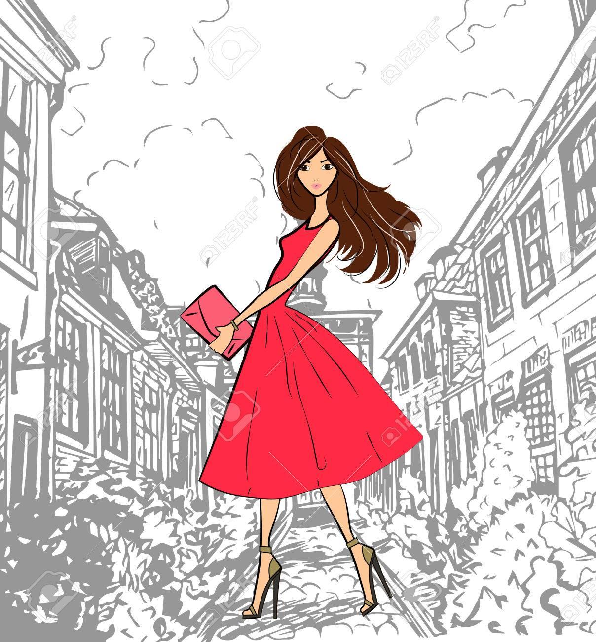 通りを歩きながらピンクのドレスでおしゃれなかわいい女の子