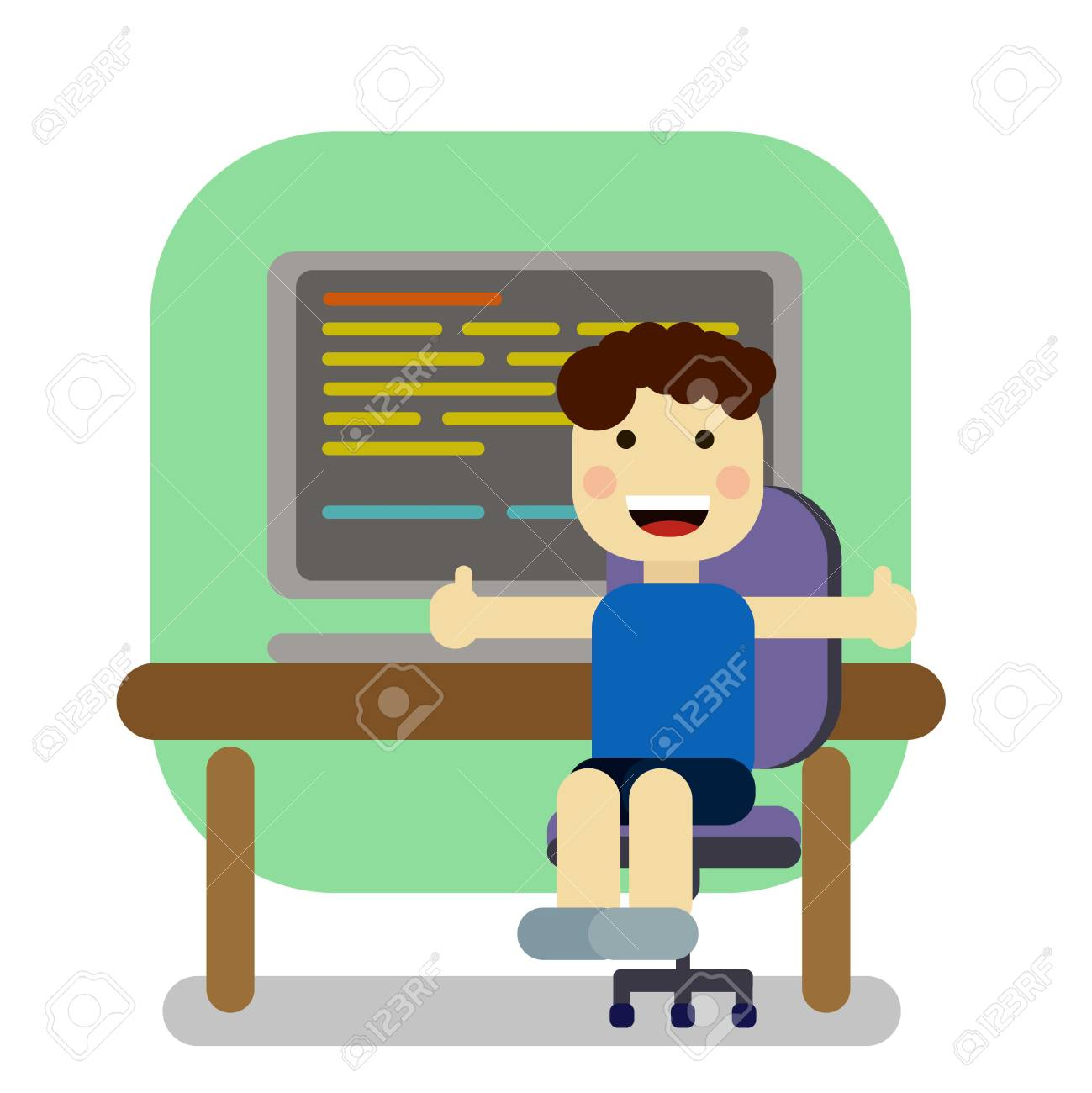 cute student boy working with computer royalty free cliparts