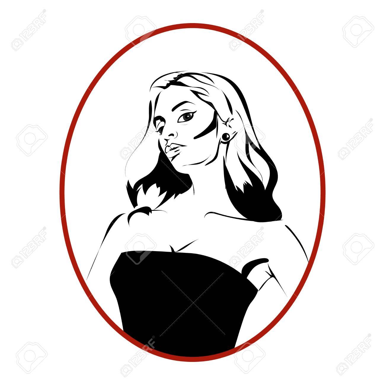 Woman Diva Monochrome Cartoon Icon Or Avatar Royalty Free Cliparts