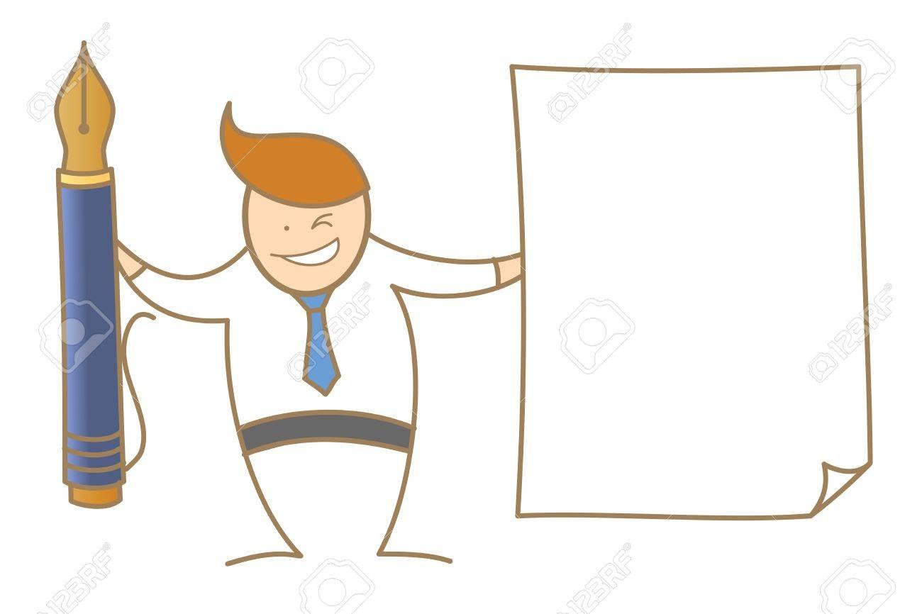 Personnage De Dessin Animé De L Homme Plume Sur Papier Faisant Ressortir Annonce De La Signature Du Document