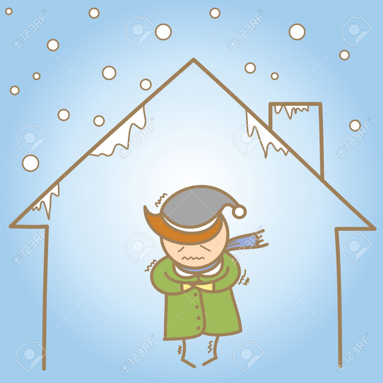 cartoon character of man in the cold house Stock Photo - 17389536