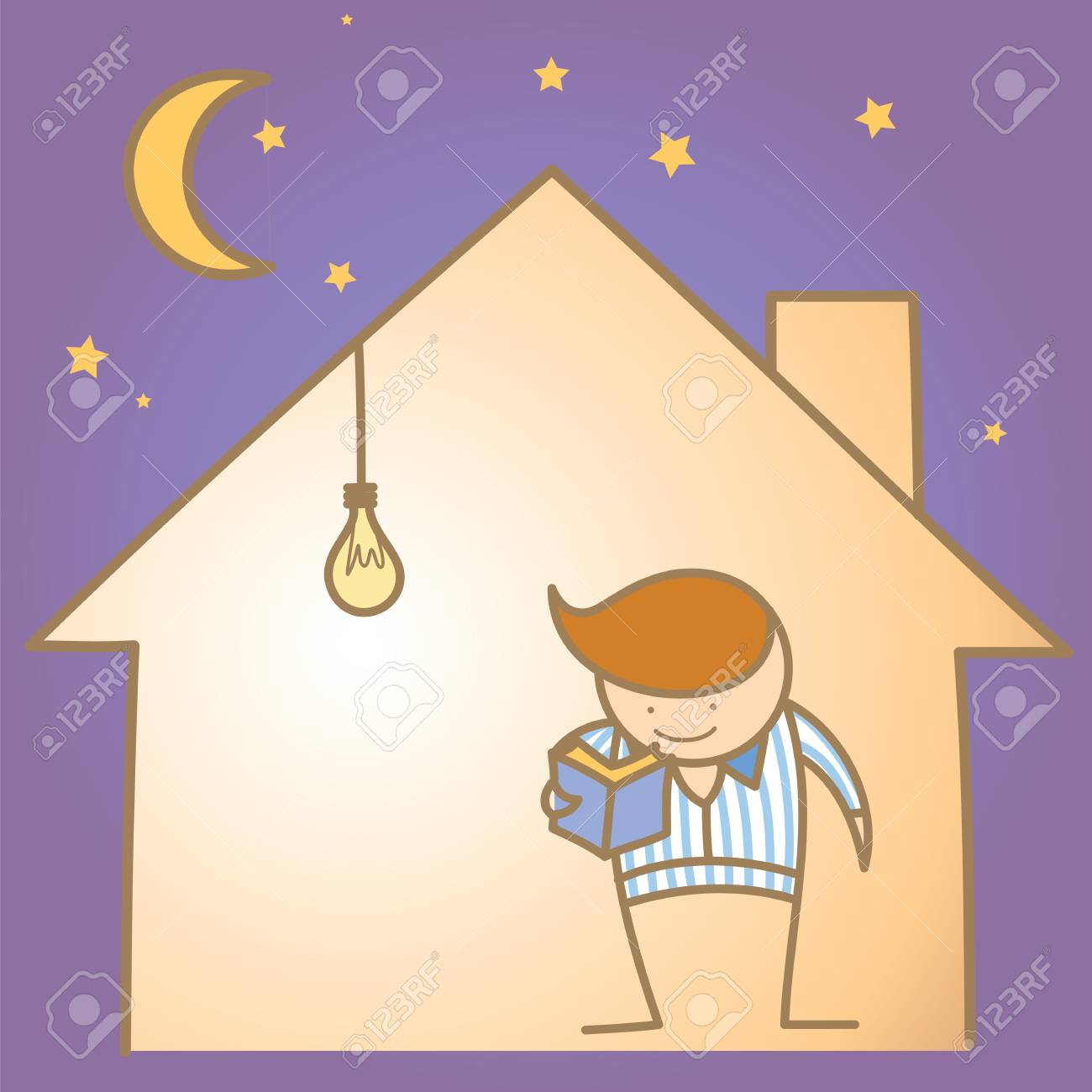 cartoon character of man in the warm and light house Stock Photo - 17389472