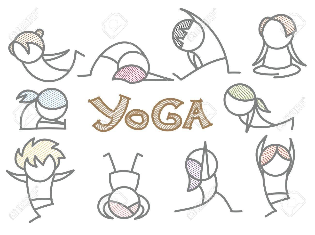 Reihe Von Comic-Yoga-Linie Kunst Lizenzfreie Fotos, Bilder Und ...
