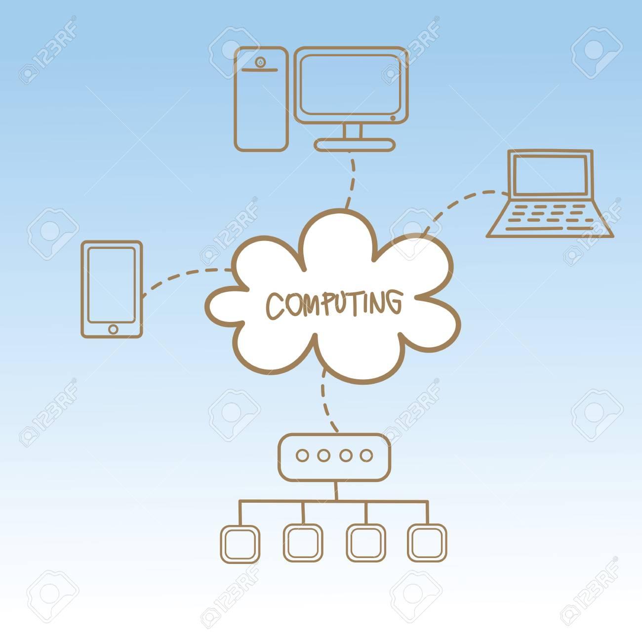cartoon drawing of cloud computing concept Stock Vector - 17414682