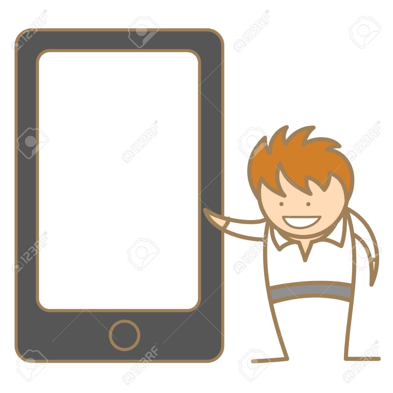 cartoon character of man presenting via cell phone Stock Vector - 17409847