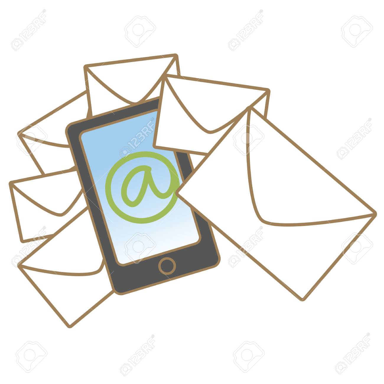 cartoon drawing of mobile mail concept Stock Vector - 17414506