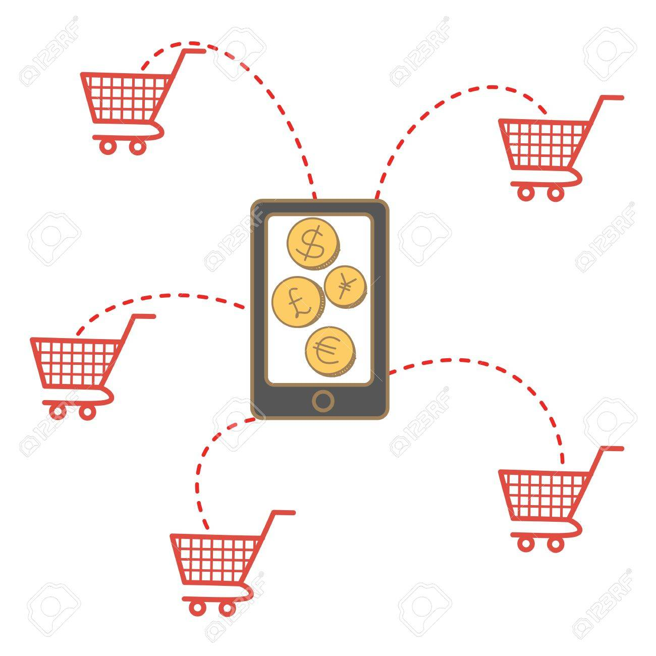 cartoon drawing of shopping via mobile Stock Vector - 17414601