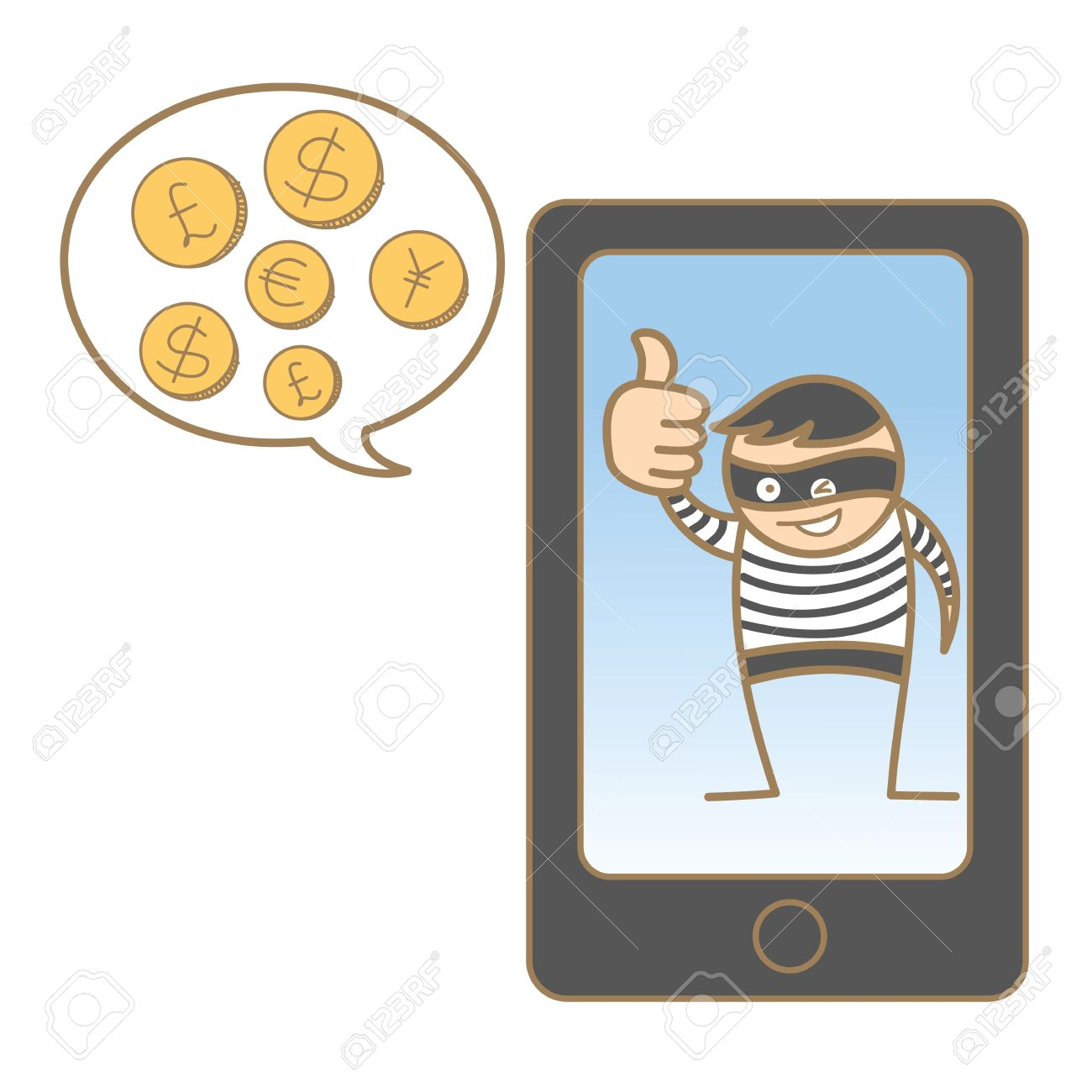 cartoon character of burglar hacking mobile Stock Vector - 17414589