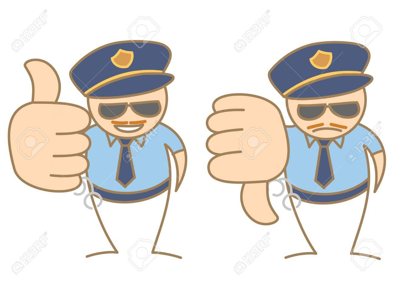 police man thumbs up - down saying like and dislike Stock Vector - 17414716