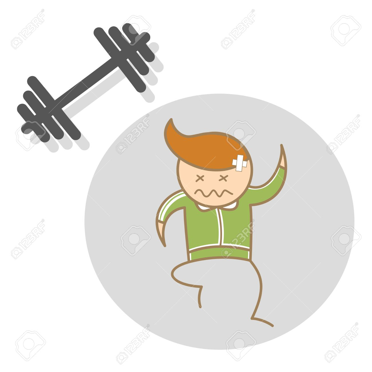 cartoon character of man workout exhausted Stock Vector - 17502202