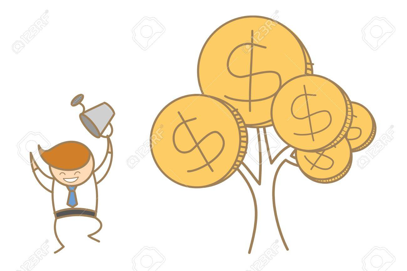 cartoon character of business man happy with his money tree Stock Vector - 17502176