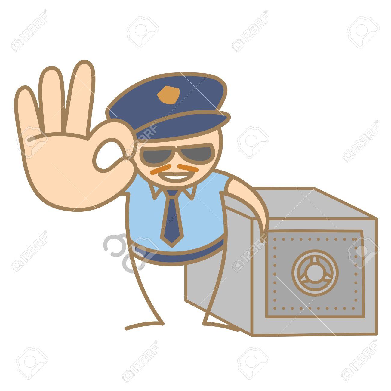 cartoon character of police man guarding money box Stock Vector - 17502195