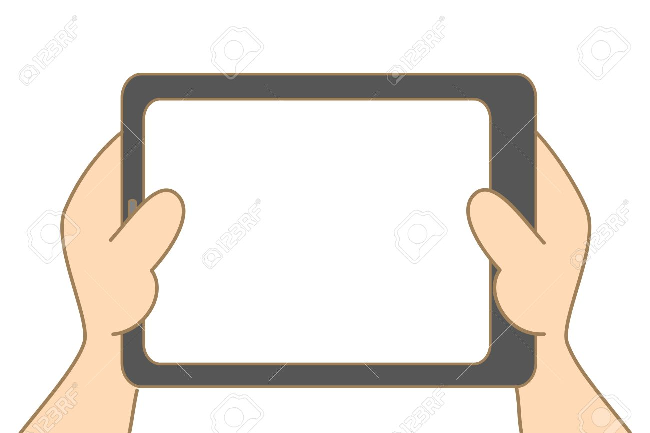 cartoon drawing of hand holding tablet Stock Vector - 17755209