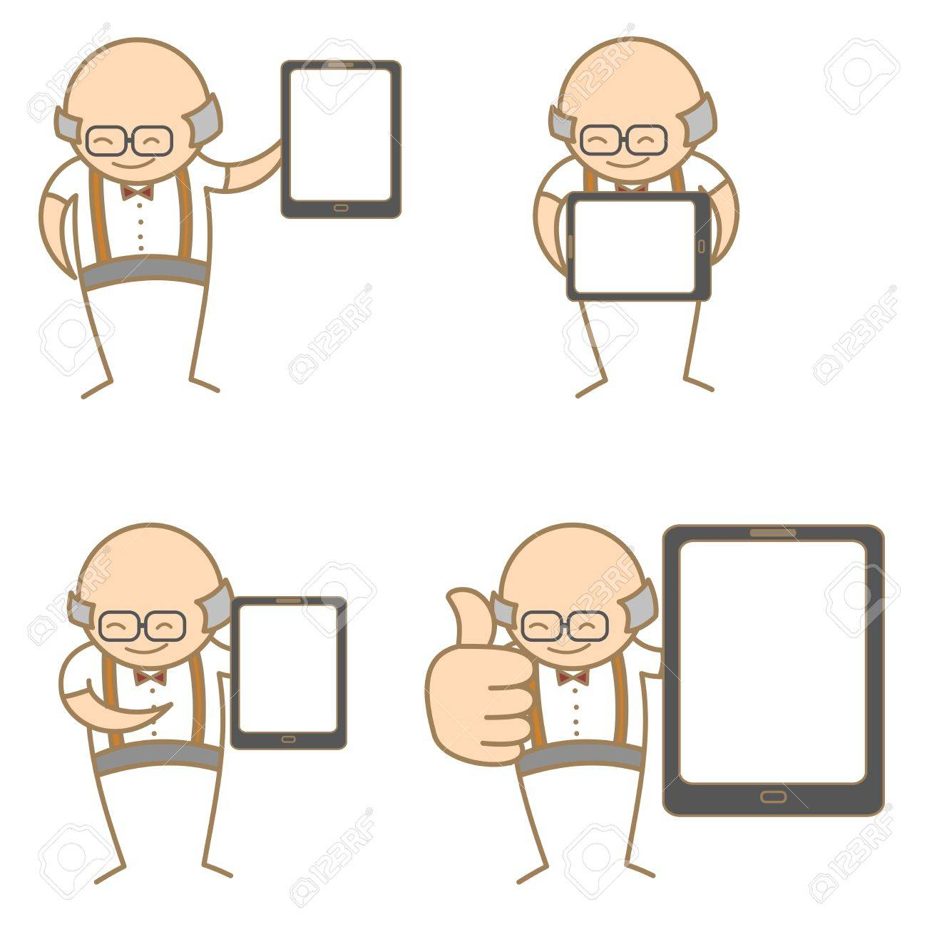 cartoon character set of old man with tablet Stock Vector - 17755204