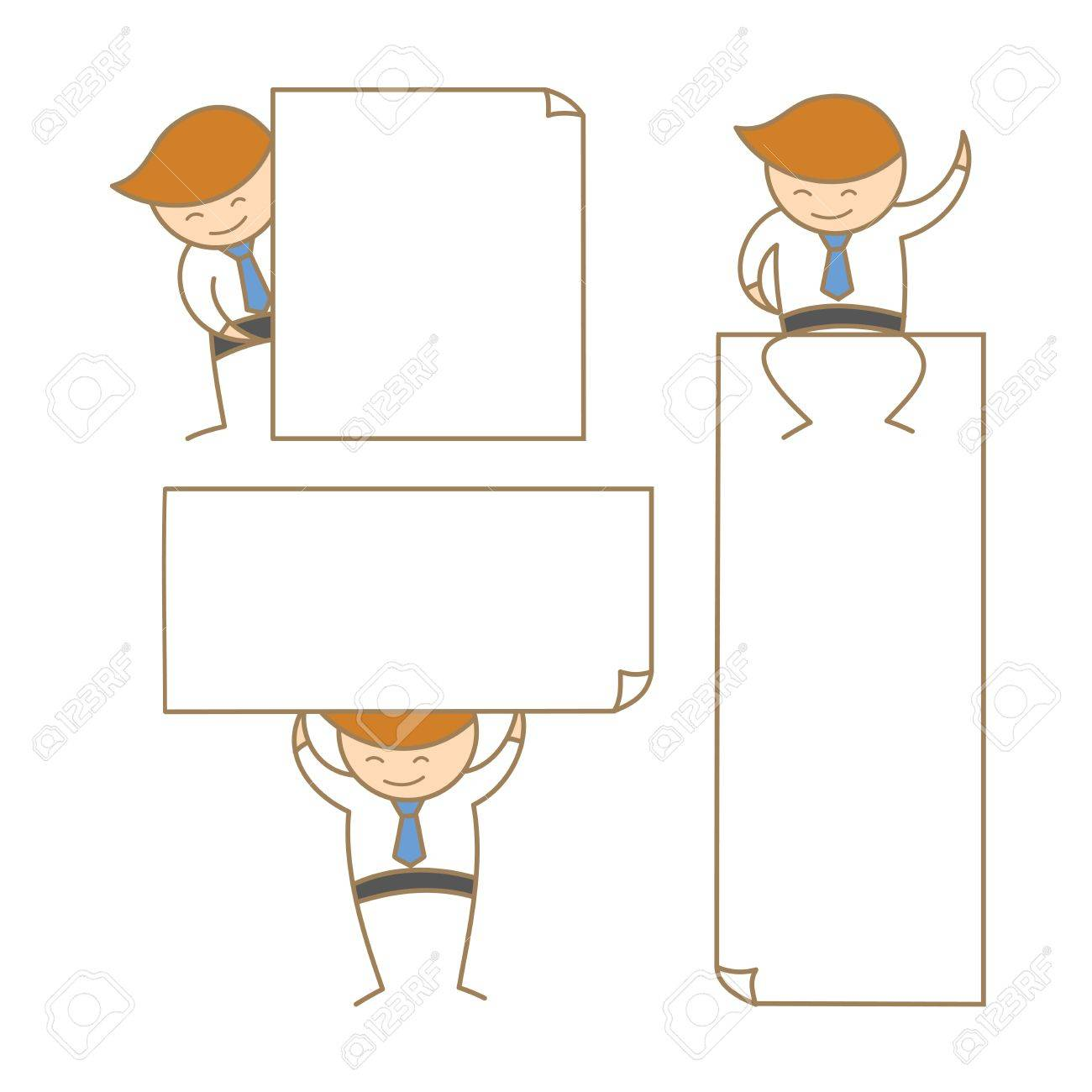 cartoon character of business man present empty white board Stock Vector - 17897046