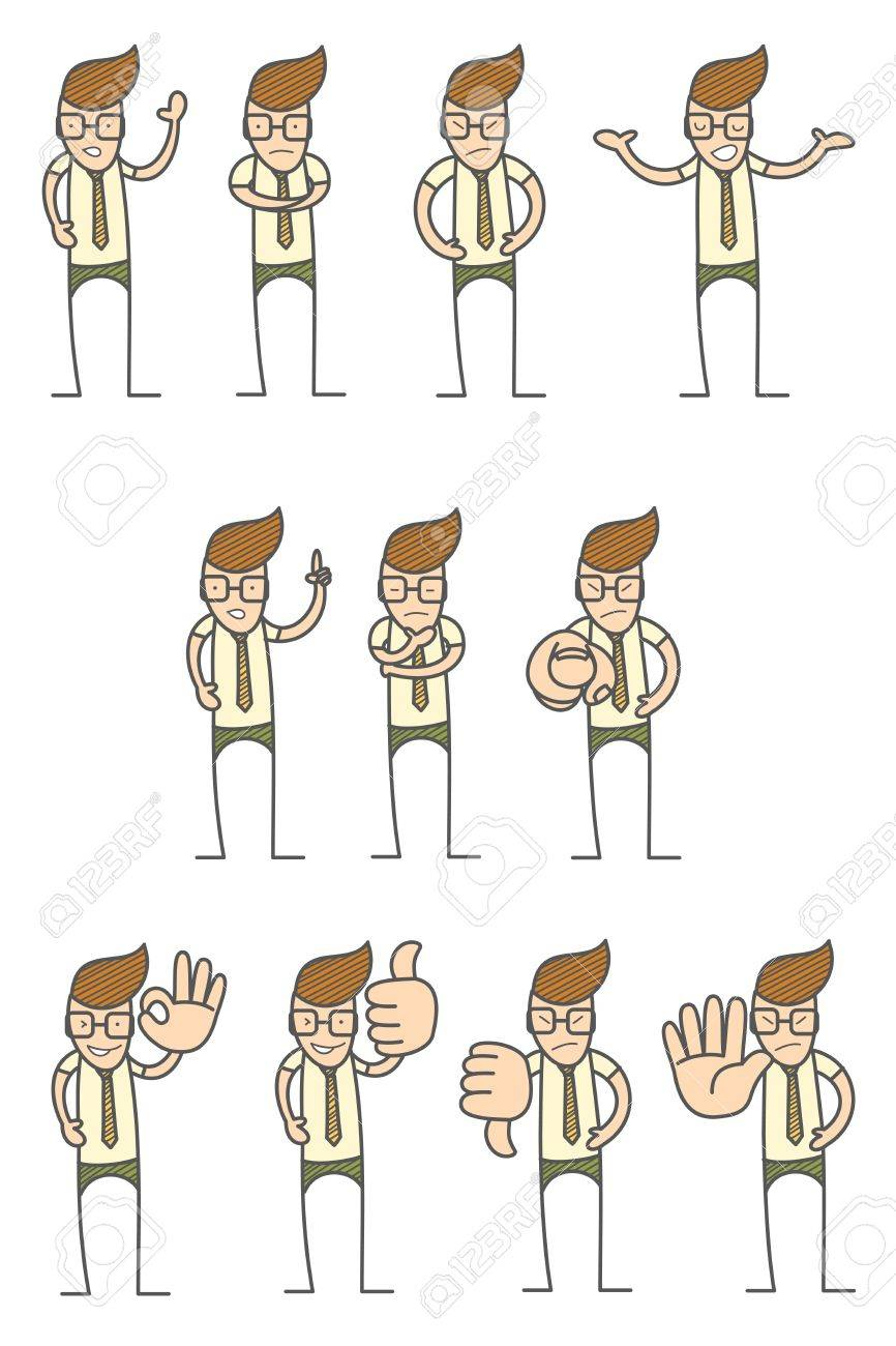 set of cartoon character various poses Stock Vector - 17897045