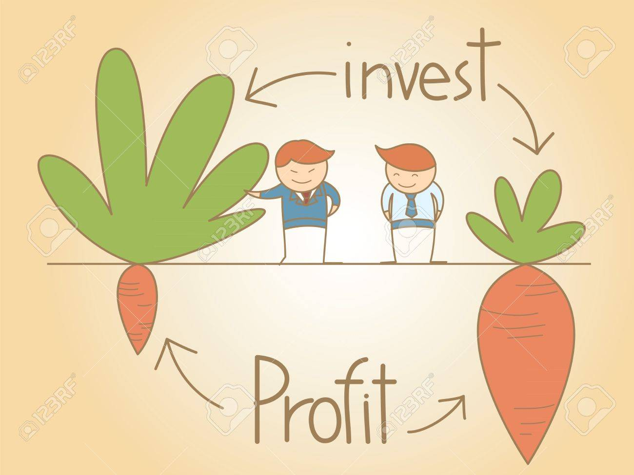 business man talk invest and profit cartoon character concept - 18389346
