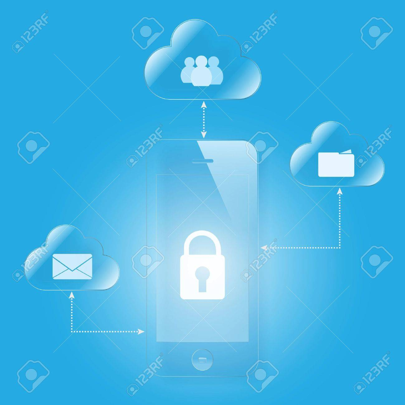 cloud computing mobile security Stock Vector - 20161717