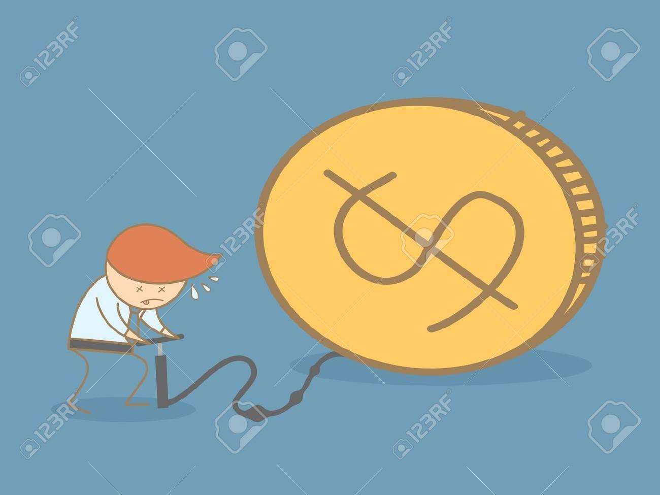 business man pump up money Stock Vector - 20162690