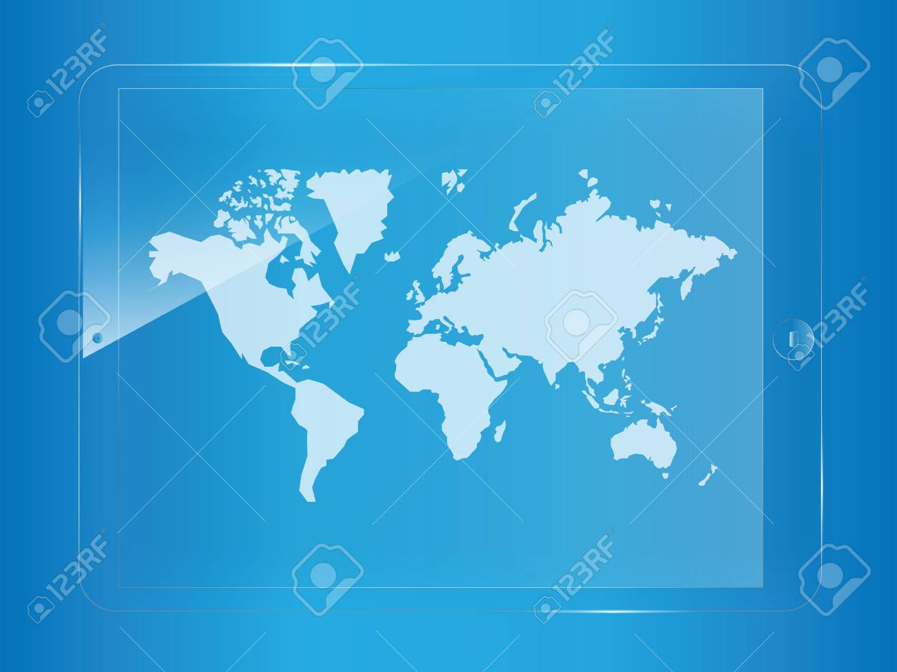 world map on glass tablet screen Stock Vector - 20175275