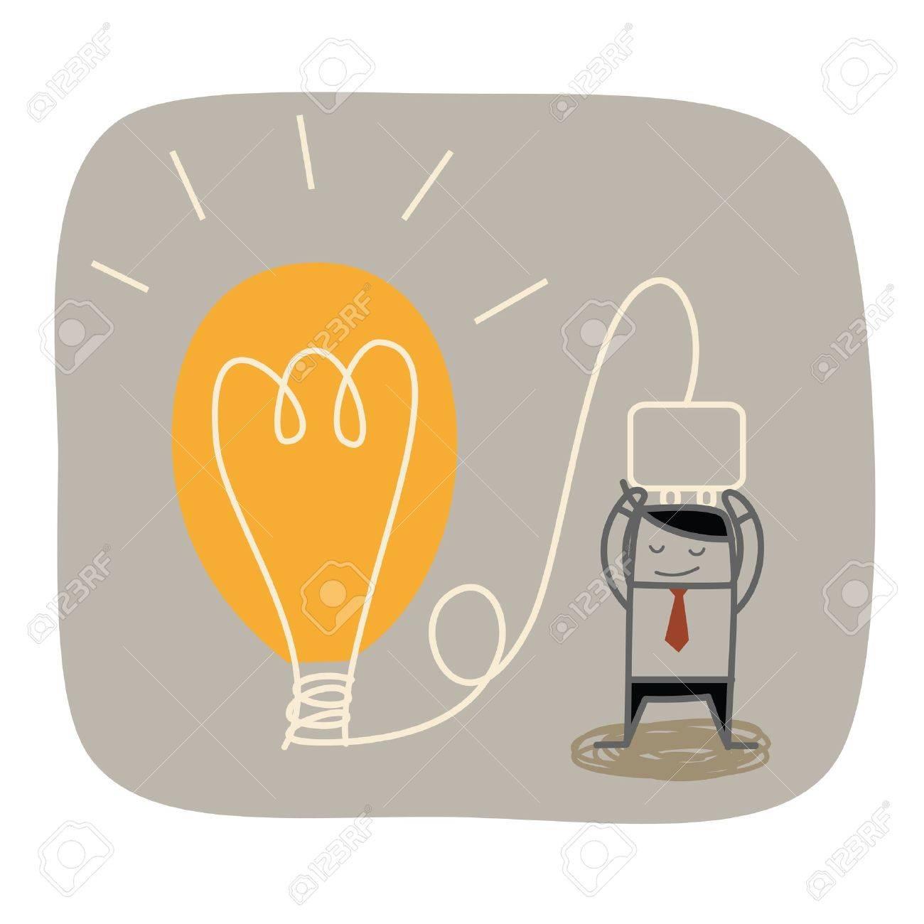 business man plug idea bulb - 21015501