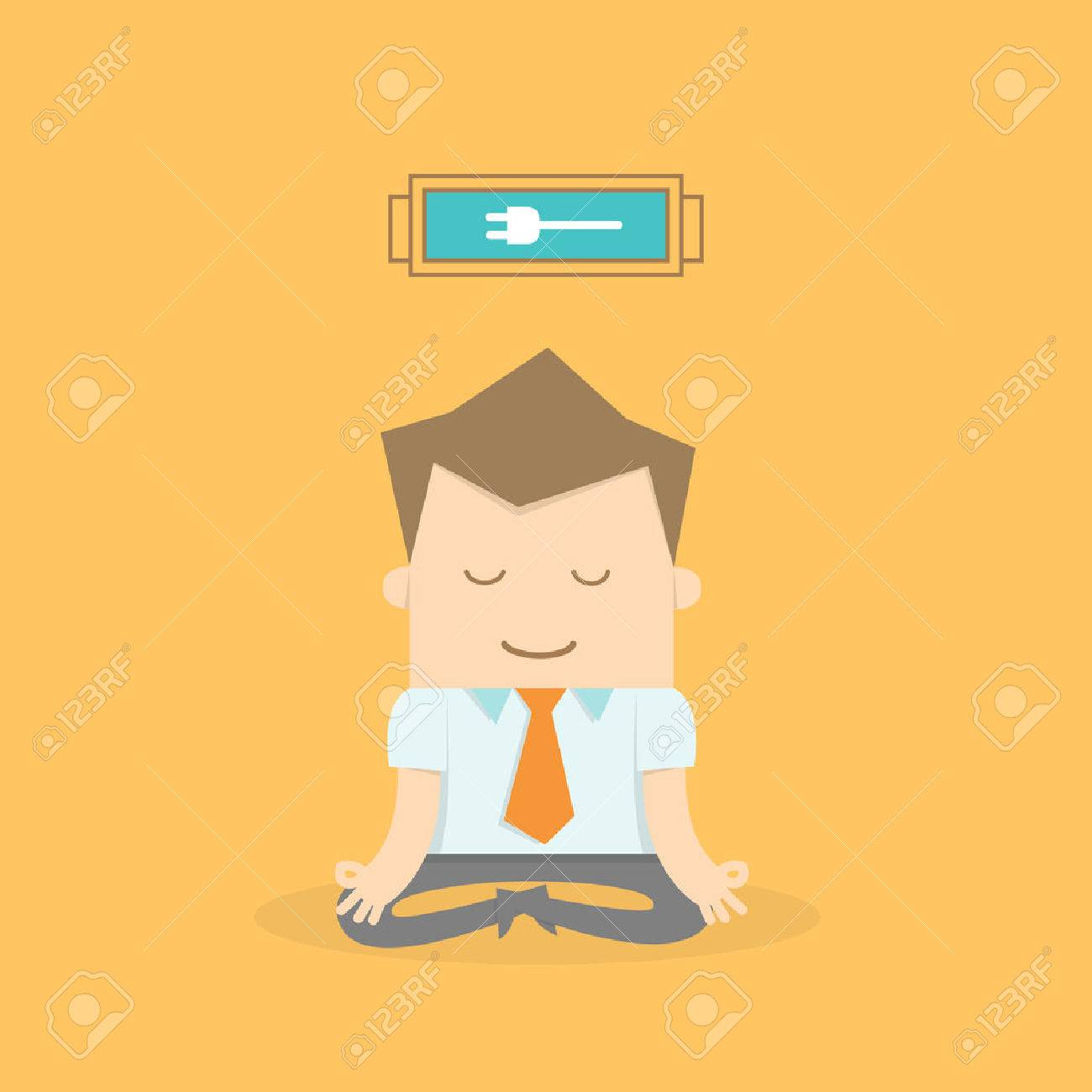 business man meditating to recharge and relax Stock Vector - 23864385