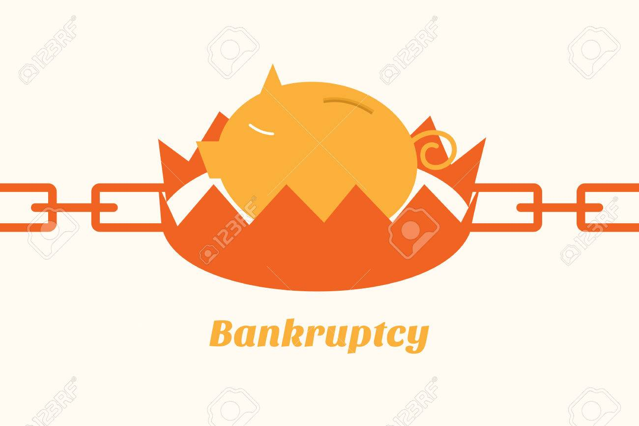 bankruptcy situation piggy bank on trap Stock Vector - 23864386
