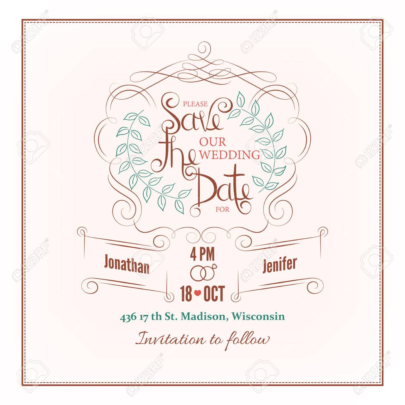 Save The Date Calligraphy Wedding Invitation Card Royalty Free ...