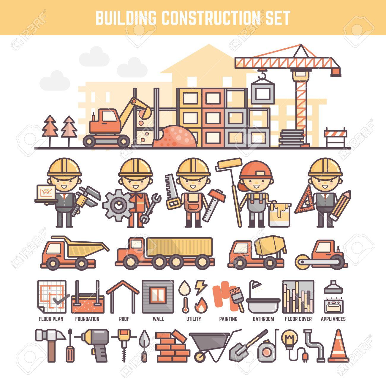 Gebäude Und Baustelle Elemente Für Infografiken Einschließlich ...