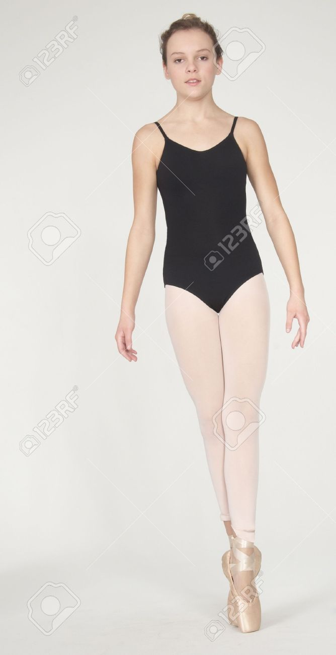 0d6616340 Teen Ballerina In Leotard And Tights Stock Photo