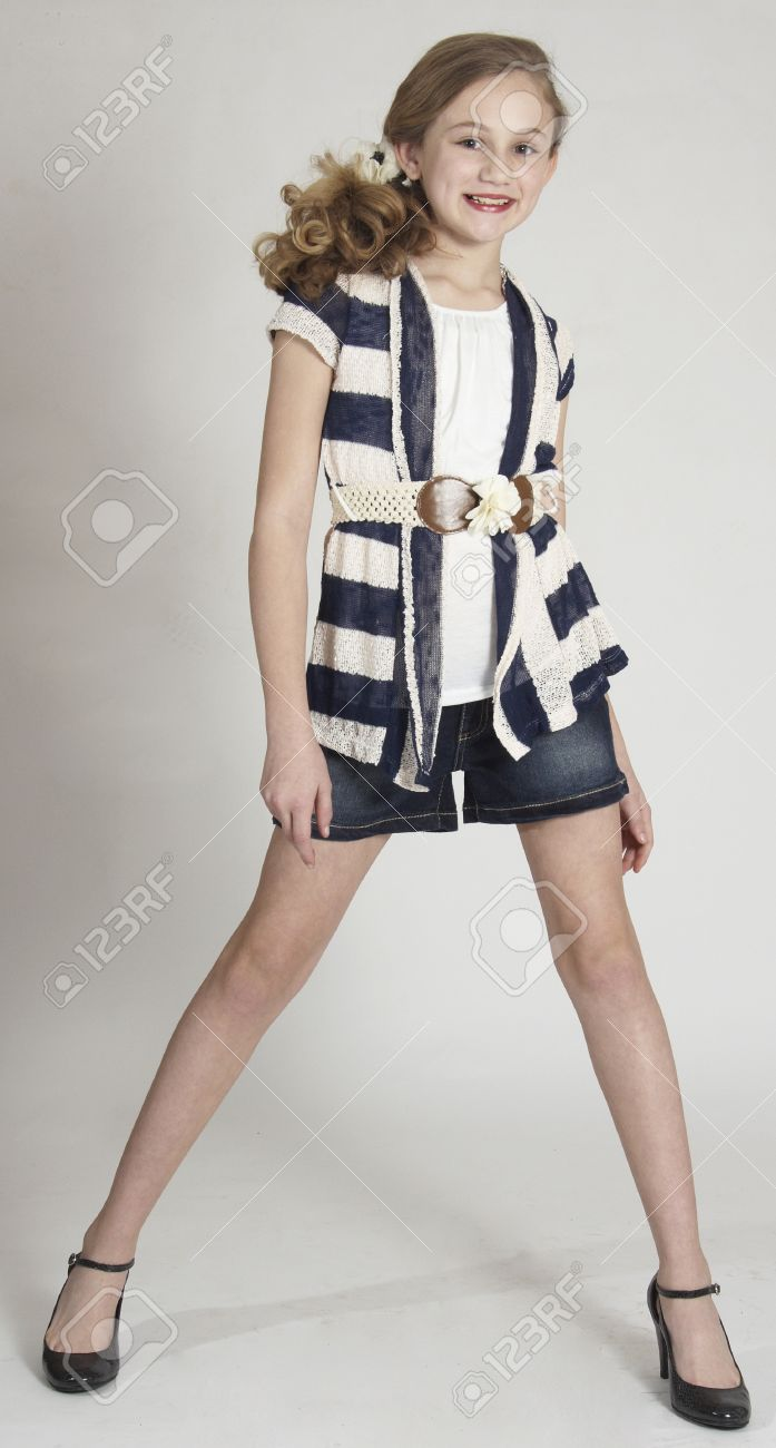 Stock Photo - Young Teen Girl Modeling Fashion Clothing in Studio
