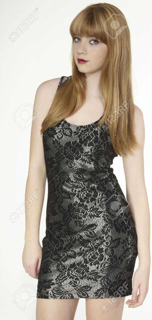 Blond Teen Model Posing In A Short Dress Stock Photo, Picture And ...