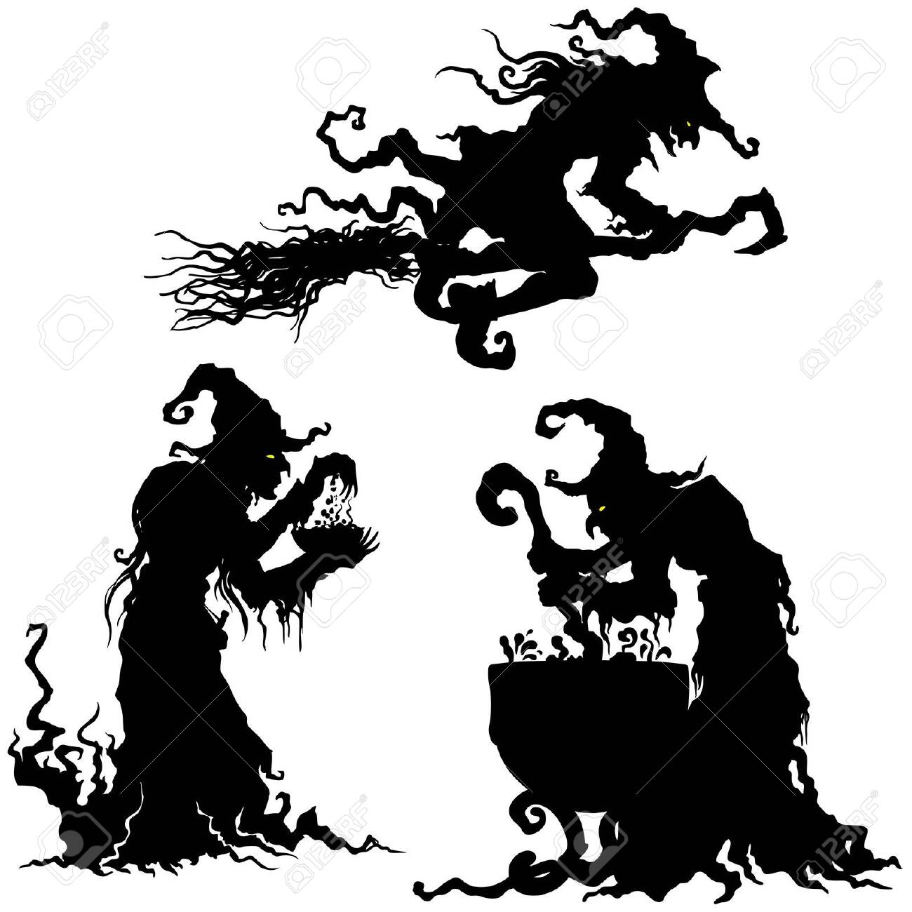 Illustration fantasy grotesque witch women silhouettes - 131755223