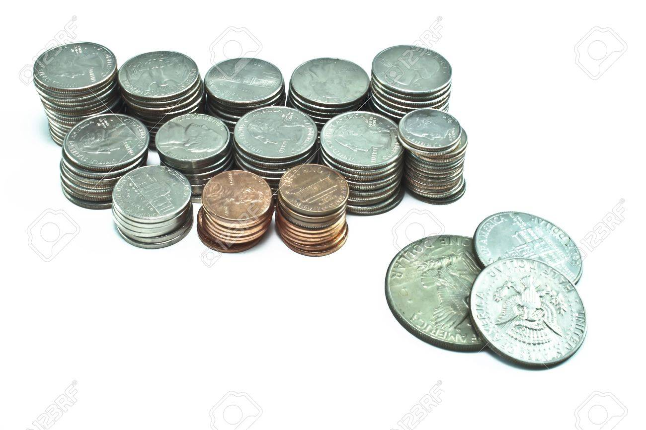 Stacks of pennies, dimes, nickels, and quarters  Different sizes  Silver dollar and two half dollars on the side Stock Photo - 18841281