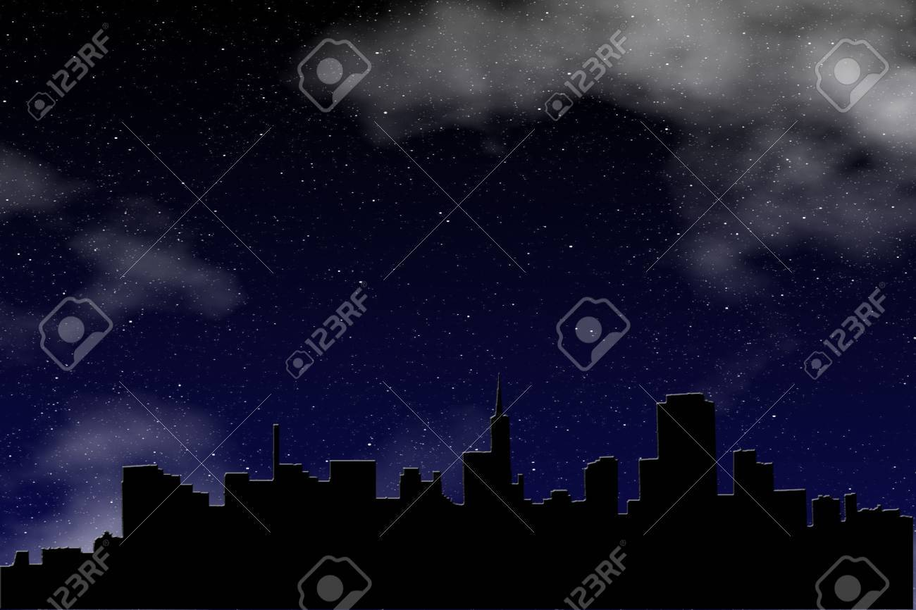 Graphic creation of a city skyline silhouetted against a deep blue sky filled with brilliant stars and clouds Stock Vector - 19310626